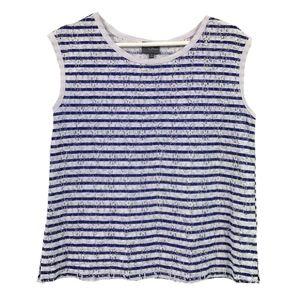 StitchFix Blue & White Striped Lace Sleeveless Top